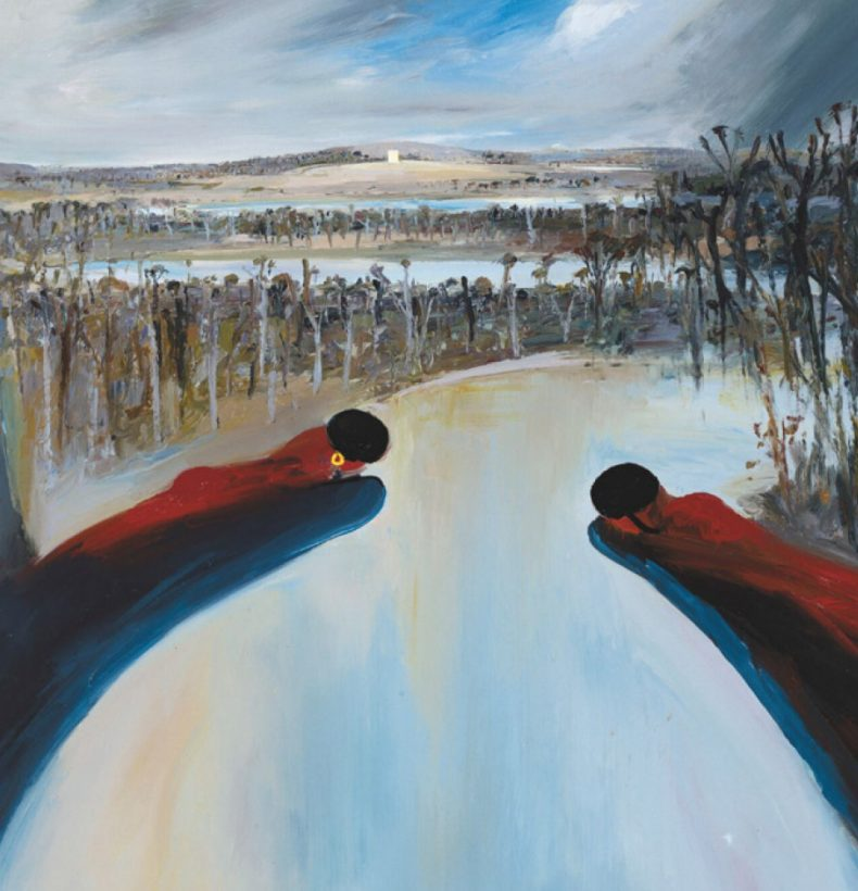 Painting by Arthur Boyd depicts three figures with a river and forest in the background.