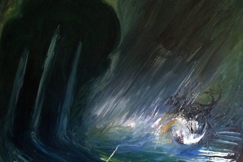 Abstract dark painting by Arthur Boyd