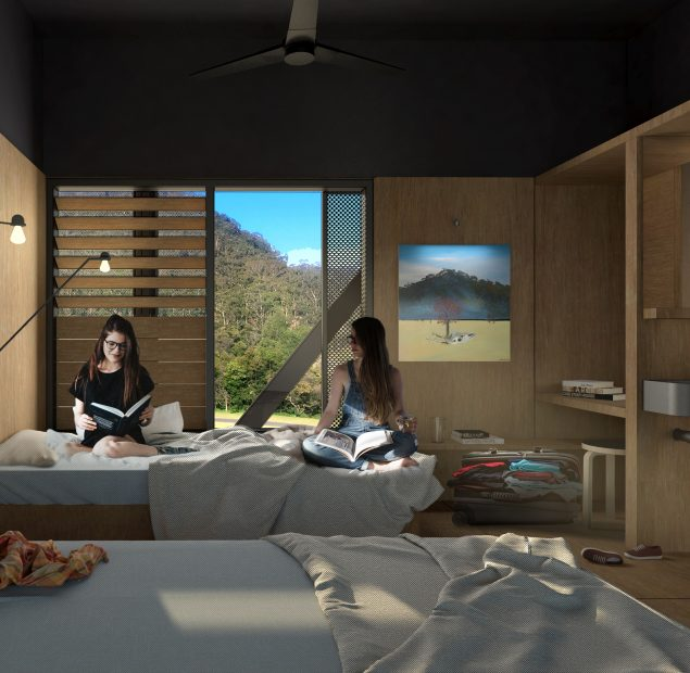 Digital render of a bedroom with two people sitting on a bed, reading books