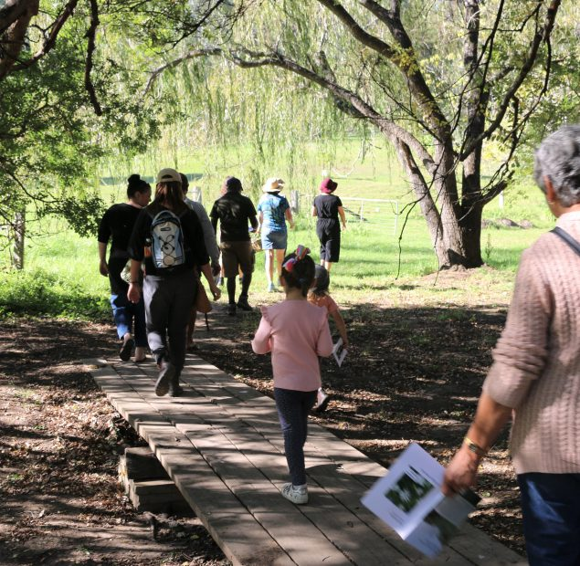 10 people walking through trees and over a small wooden bridge