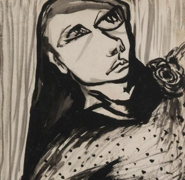 An abstract back and white ink drawing depicting a person with a flower on their shoulder